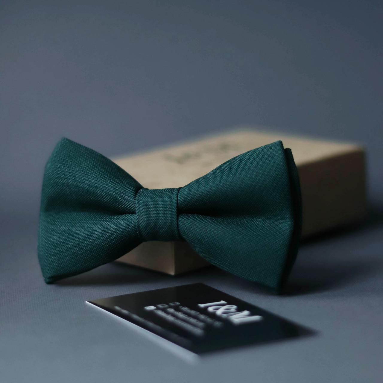 Галстук-бабочка I&M Craft классический темно-зеленый (010319)