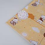 """Ткань хлопковая """"Летающие мишки и кролики """" коричневые на бежево-песочном фоне(№1303а), фото 5"""