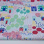 """Отрез ткани """"Цветочный городок"""" в зелёно-бирюзовых цветах, № 1300а размер 55*160, фото 2"""