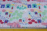 """Отрез ткани """"Цветочный городок"""" в зелёно-бирюзовых цветах, № 1300а размер 55*160, фото 3"""