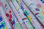 """Отрез ткани """"Цветочный городок"""" в зелёно-бирюзовых цветах, № 1300а размер 55*160, фото 4"""