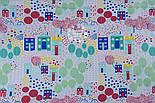 """Отрез ткани """"Цветочный городок"""" в зелёно-бирюзовых цветах, № 1300а размер 55*160, фото 5"""