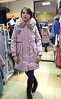Женская пудровая курта-парка с натуральным мехом песца и апликацией с цветной норки, фото 1