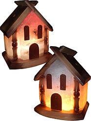 Соляний светильни Будиночок 5-6 кг з кольоровою лампочкою