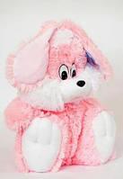 Мягкая игрушка - зайчик сидячий Сашка 110 см белый розовый