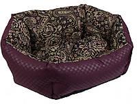 Лежак для кошек и собак Кокос 3 64х50х22 см бордовый/орнамент