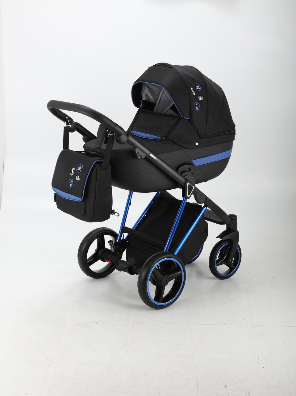 Коляска Adamex Cortina Sport CS-404 чорна (шасі blue) 2в1