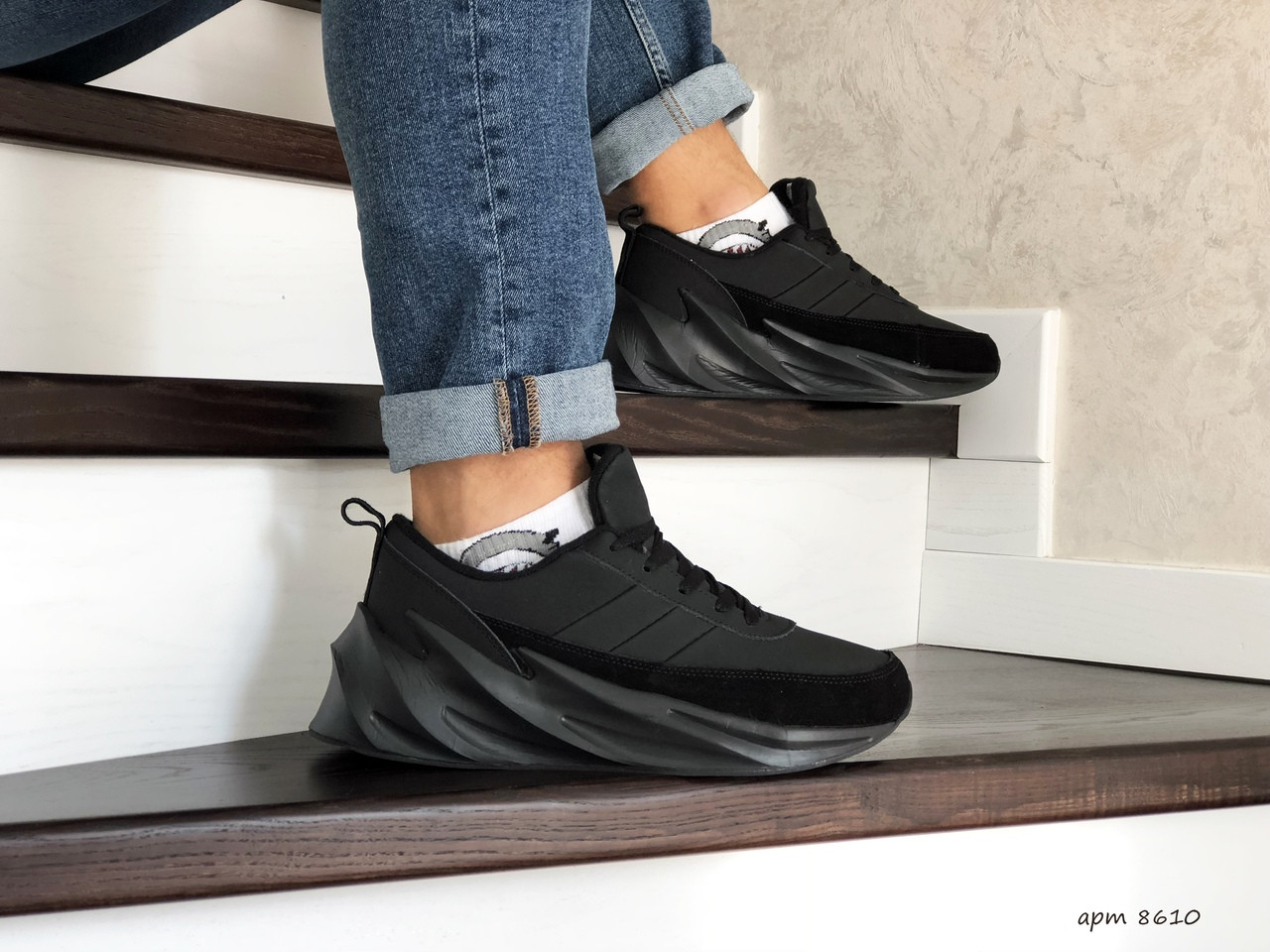 Мужские кроссовки Adidas Sharks (черные) Зима