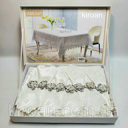 Скатерть с салфетками и держателями в чемоданчике 150х220 см (Белая), фото 2