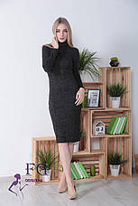 Нарядное ангоровое теплое платье-гольф до колен с длинными рукавами зеленое, фото 2