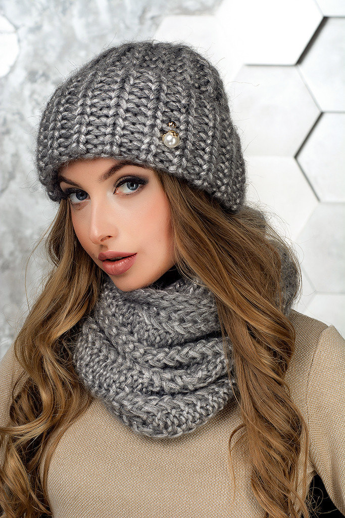 Комплект (шапка и снуд-хомут) Flirt Манго One Size серый
