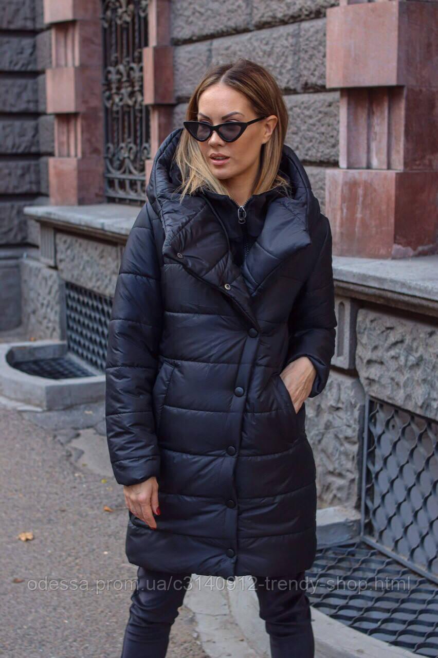 Куртка пальто женская тёплая чёрная красная S M L