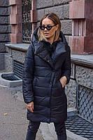 Куртка пальто женская тёплая чёрная красная S M L, фото 1