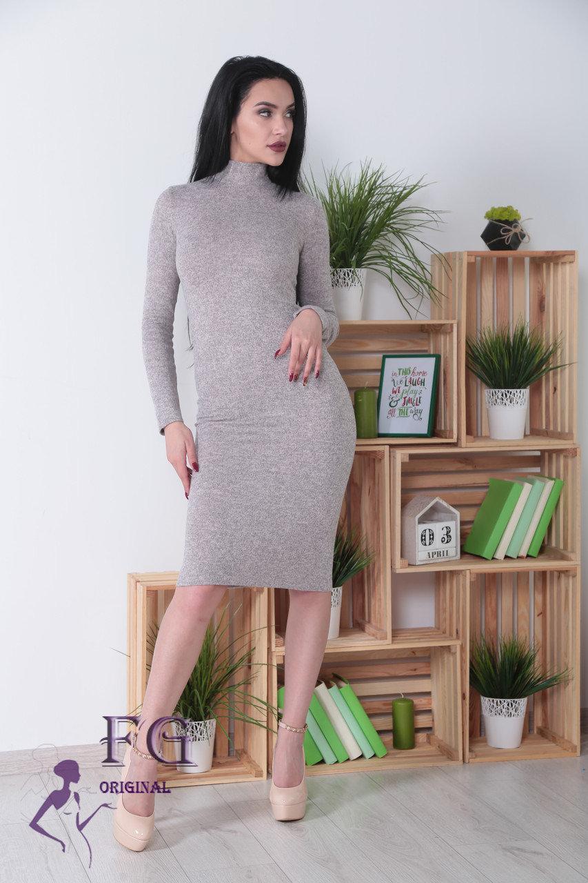 Теплое офисное платье-гольф миди из ангоры по фигуре длинный рукав меланж серое