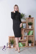 Теплое офисное платье-гольф миди из ангоры по фигуре длинный рукав меланж серое, фото 3