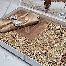 Скатерть с салфетками и держателями в чемоданчике 150х220 см (Коричневая), фото 3