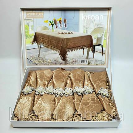 Скатерть с салфетками и держателями в чемоданчике 150х220 см (Коричневая), фото 2