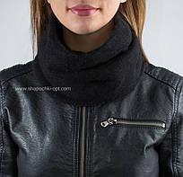 Зимний вязаный бафф BF-33 цвет черный