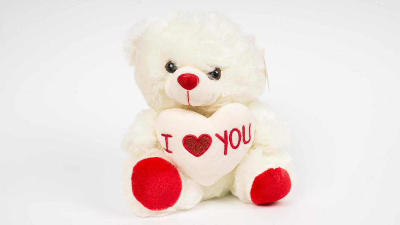 Мягкая игрушка Медведь с сердцем. Говорит я люблю тебя.22 см