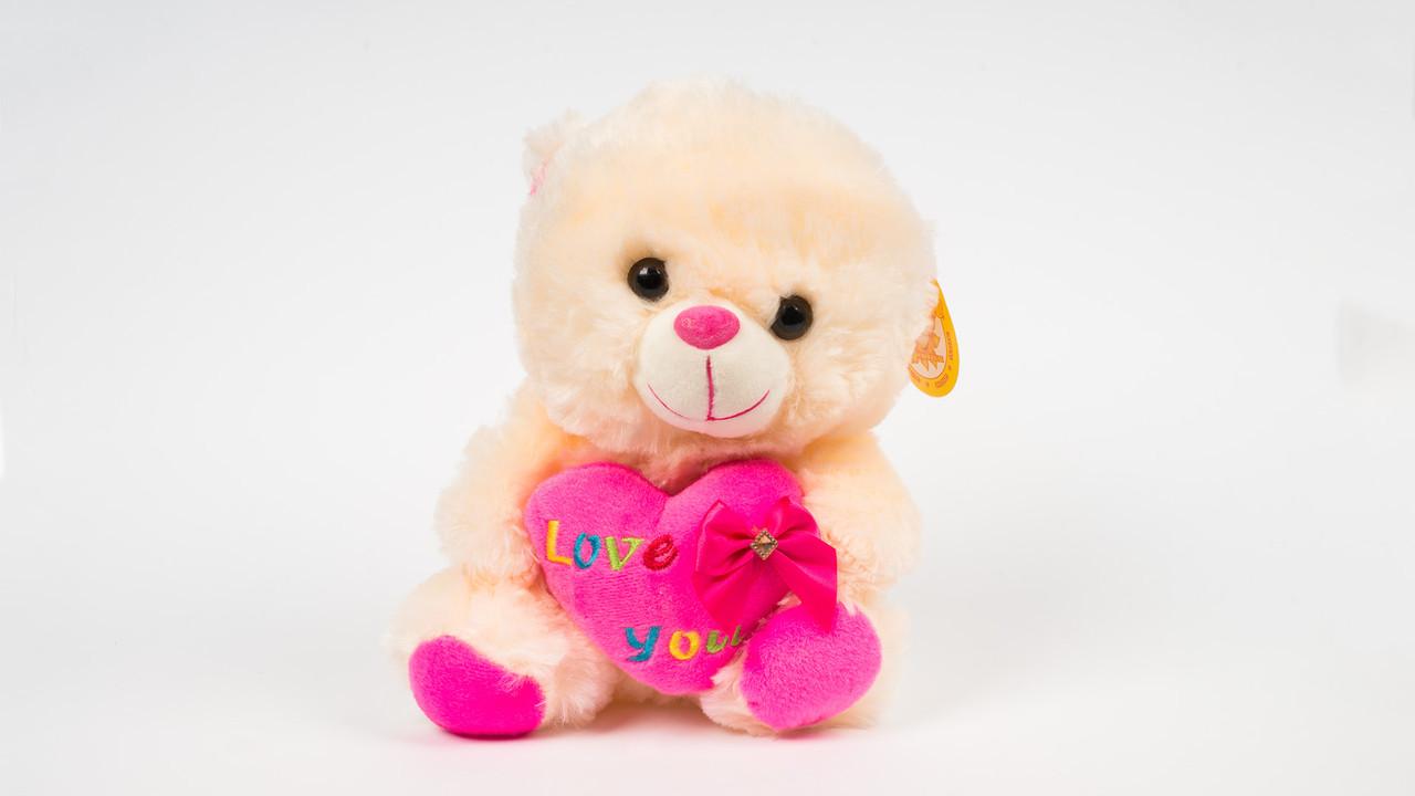 М'яка іграшка Ведмідь з серцем. Каже я люблю тебе.22 см