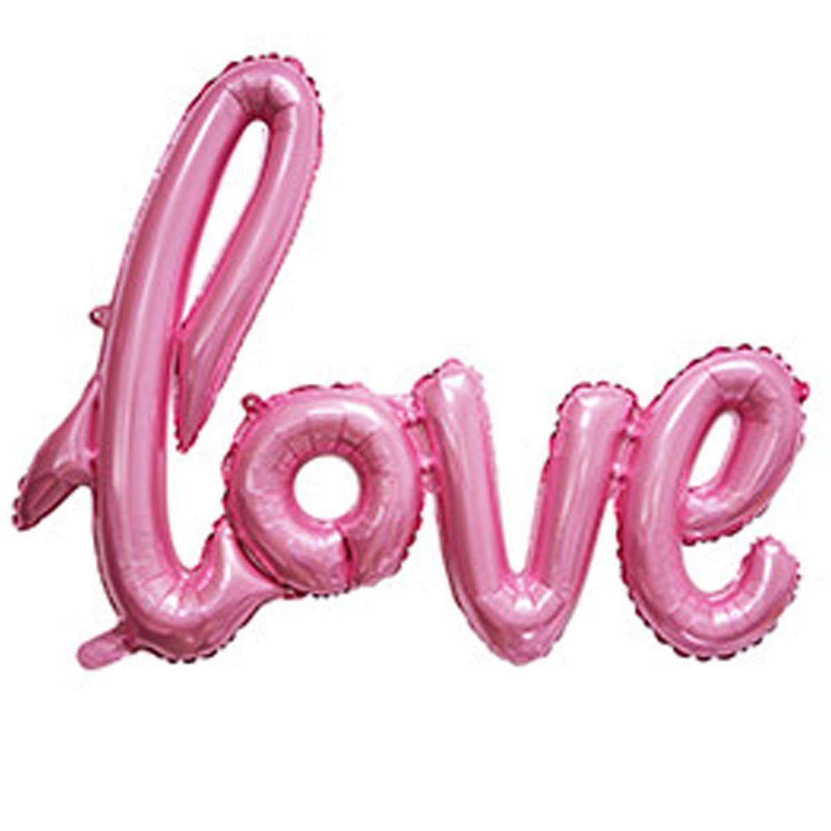Фольгований напис Love рожевий 105х65см Китай
