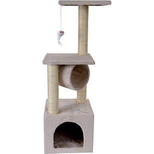 Домик когтеточка дряпка для котов Double бежевый 90см