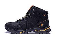 Мужские зимние кожаные ботинки Columbia Black  (реплика), фото 1