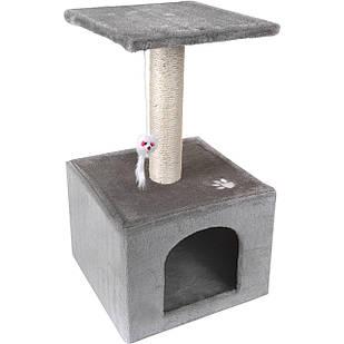 Домик когтеточка дряпка для котов Single серый 60см
