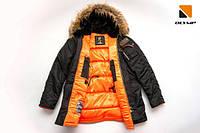 Мужская зимняя куртка аляска цвета хаки от Olymp N-3B Slim Fit
