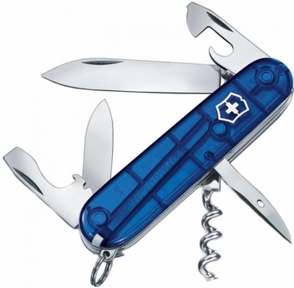 Нож складной, мультитул Victorinox Spartan (91мм, 12 функций), синий прозр. 1.3603.Т2