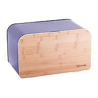 Хлебница Kamille  из нержавеющей стали с откидной  крышкой из дерева
