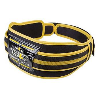 """Пояс штангиста, атлетический VELO Polyfoam 4"""", желто-черный, р-ры  2XL, VLS-22.."""