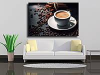 """Картина на холсте """"Вкусный кофе экспрессо с кофейными зернами"""""""