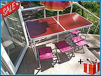 Раскладной стол, 4 стула и зонтик для пикника в чемодане, туристический столик, комплект для кемпинга, туризма