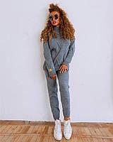 Вязаный женский костюм цвета серый джинс, фото 1