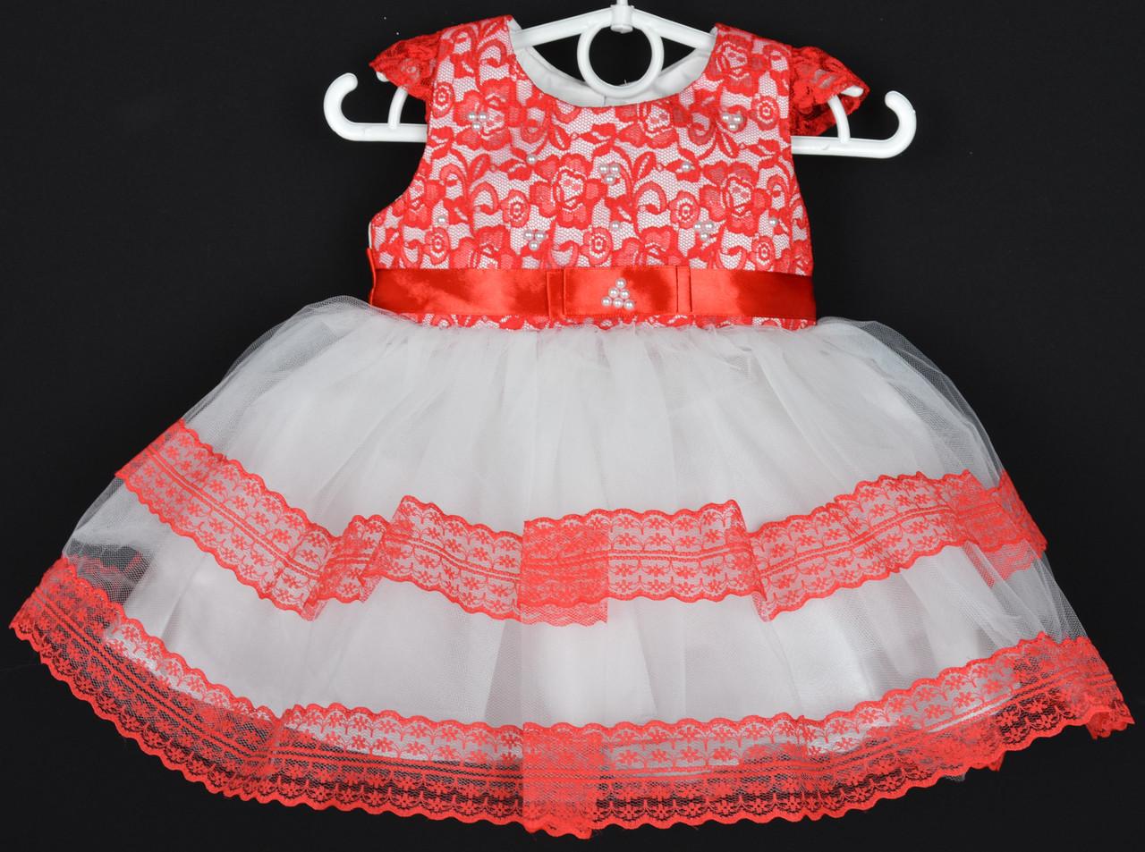 """Платье нарядное детское """"Дюймовочка"""". 1-1,5 года. Красно-белое. Оптом и в розницу"""