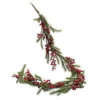 """Еловая ветка для новогоднего декора """"Ягоды в снегу"""" 1,5 м"""