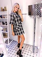 Платье женское стильное клетка тёплое 42 44 46