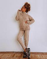 Вязаный теплый женский костюм кофейного цвета, фото 1