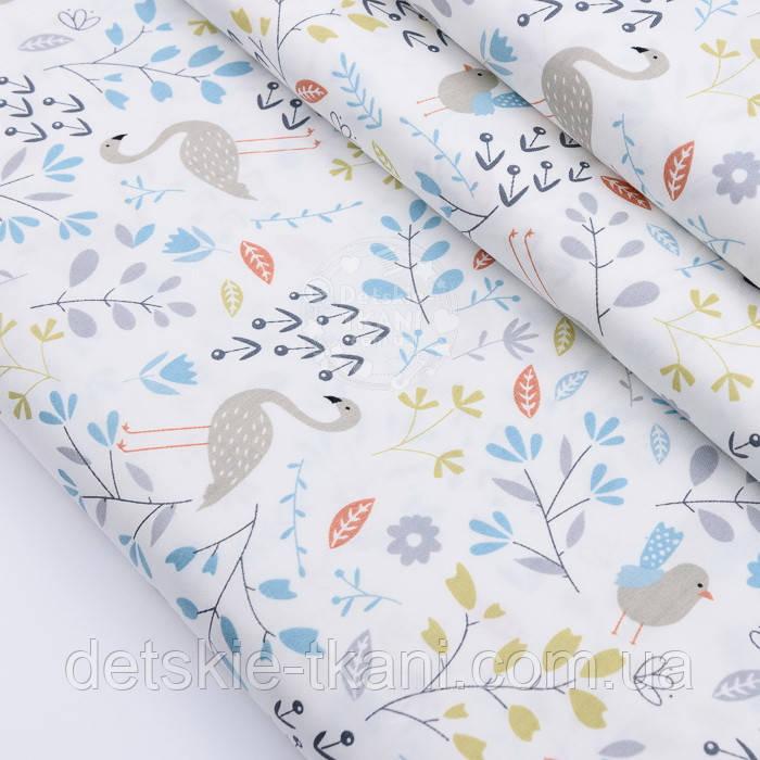 """Сатин тканина """"Фламінго і птенчики на галявині"""" сіро-бірюзові на білому №2500с"""