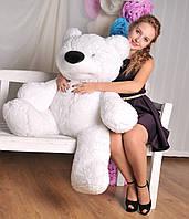Мягкая игрушка - медведь сидячий Бублик 110 см белый