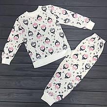 Детская пижама теплая начес  для девочек оптом р.110-116
