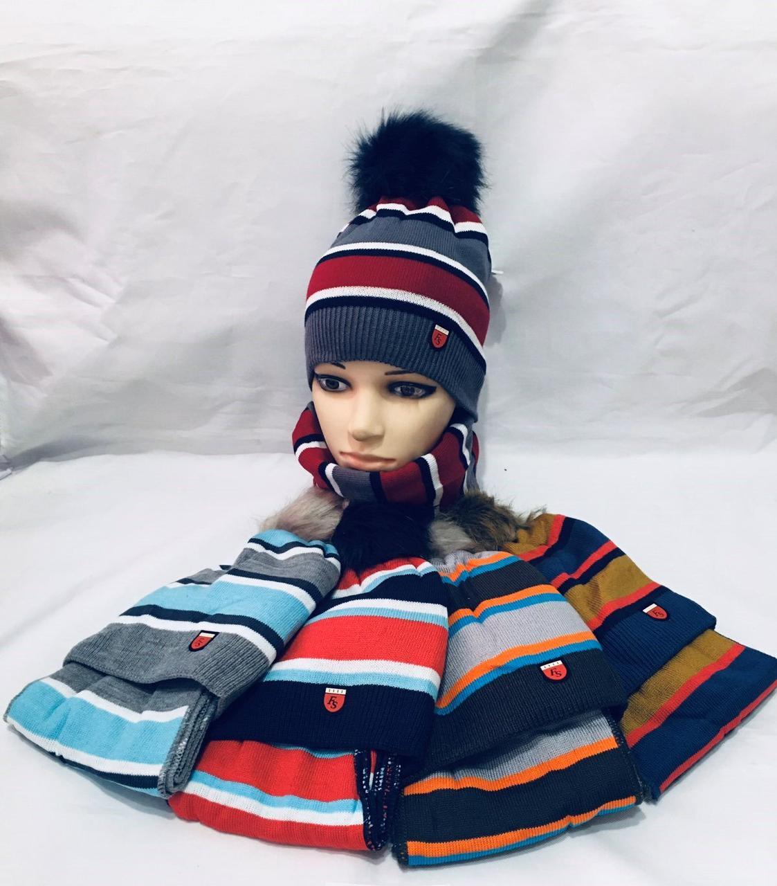 Детский набор 52-54  шапка + шарф , полоска  96105