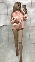 Шелковая блуза с длинным рукавом и открытыми плечами /разные цвета, 42-46, ft-354/, фото 3