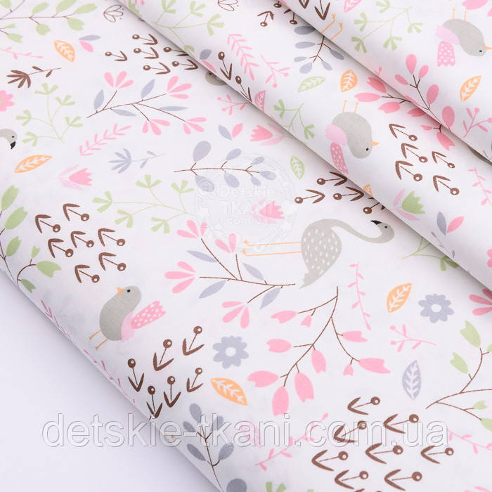 """Сатин ткань """"Фламинго и птенчики на лужайке"""" пудровые на белом №2501с"""