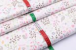 "Сатин ткань ""Фламинго и птенчики на лужайке"" пудровые на белом №2501с, фото 3"