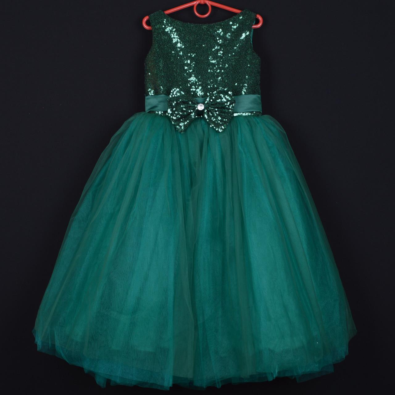 """Платье нарядное детское """"Зарина"""" с пайетками. 7-8 лет. Зеленое. Оптом и в розницу"""
