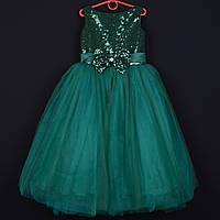 """Платье нарядное детское """"Зарина"""" с пайетками. 7-8 лет. Зеленое. Оптом и в розницу, фото 1"""