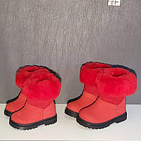 Сапоги красные  зимние детские