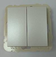 Выключатель двухклавишный проходной Efapel Logus90 10А 250В металлик лёд (21101 TGE)